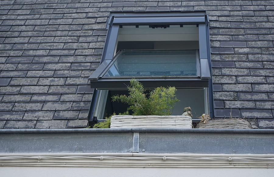 Black Roofing with window open