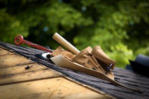 Roofing supply belt on top of roof